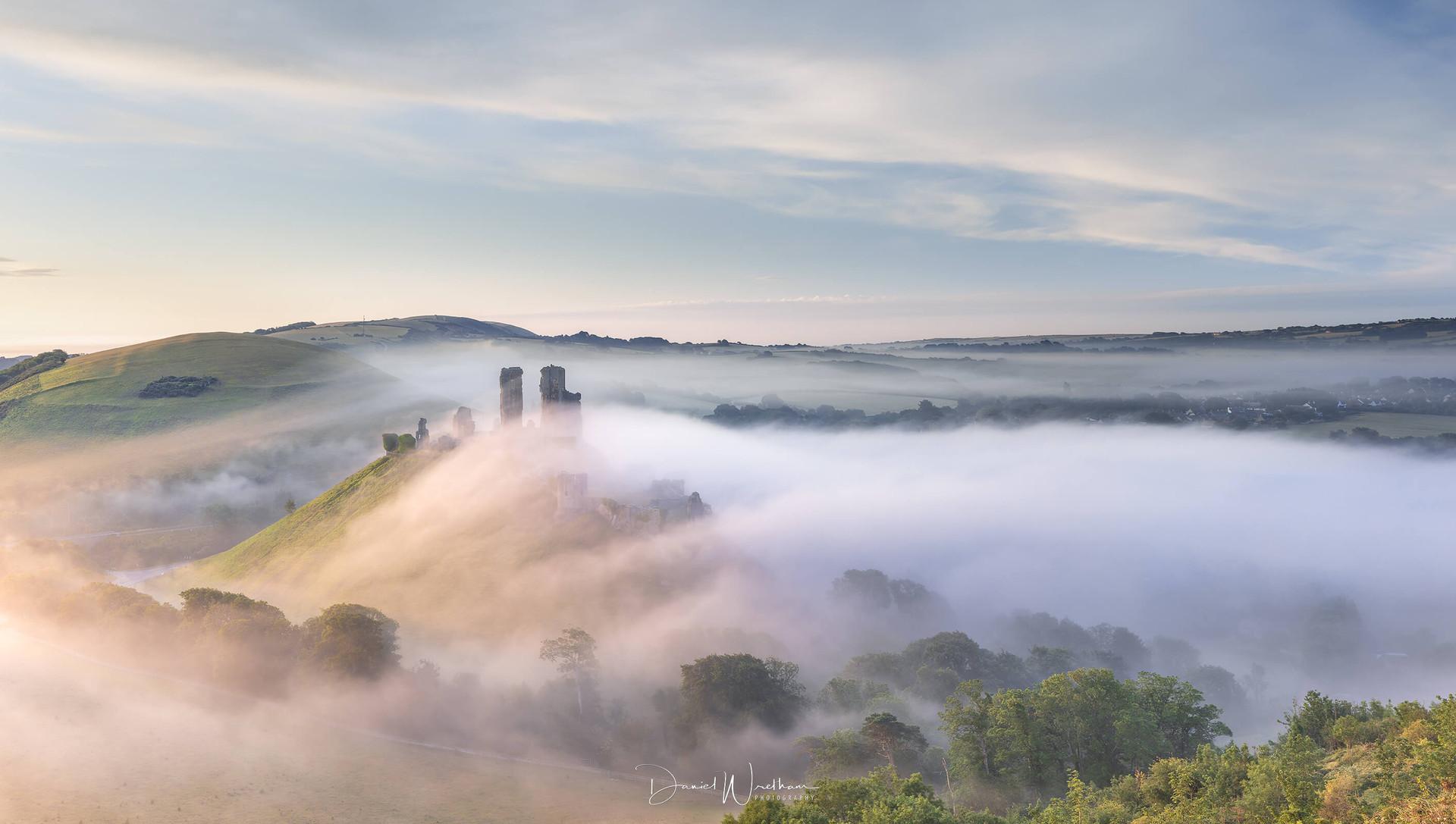 Corfe Castle Misty Panorama