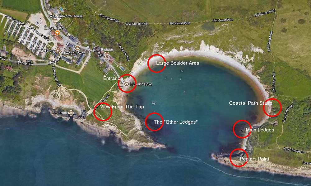 Map of Lulworth cove, Best photography locations