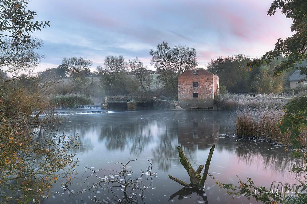 daniel wretham, landscape photography, river, cut mill sunrise, sunset, frost, dorset, water, long expose, lee filters
