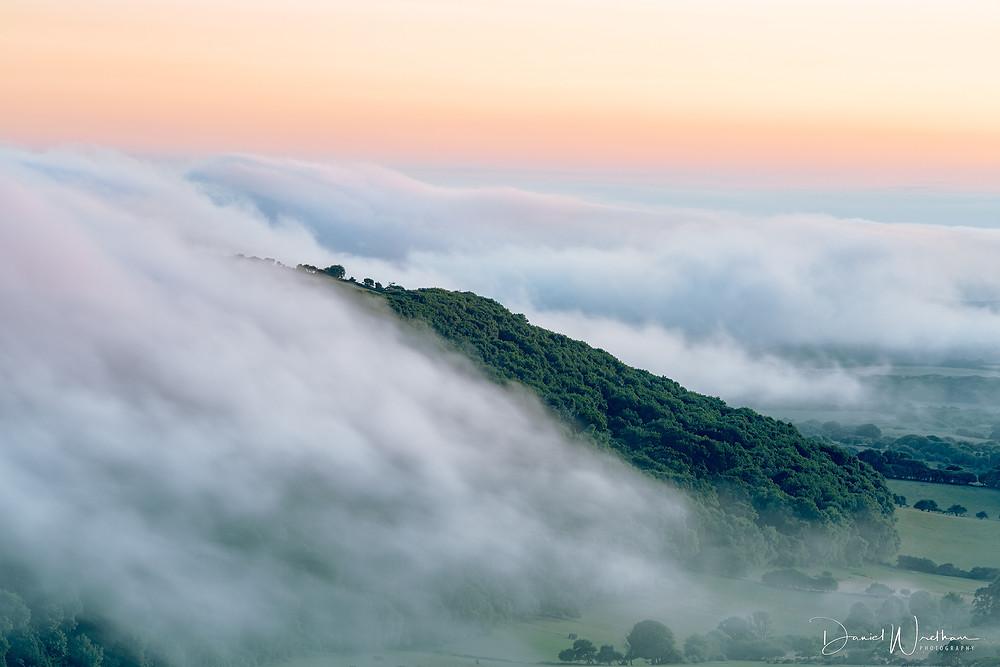misty sunset, dorset mist, heavy mist