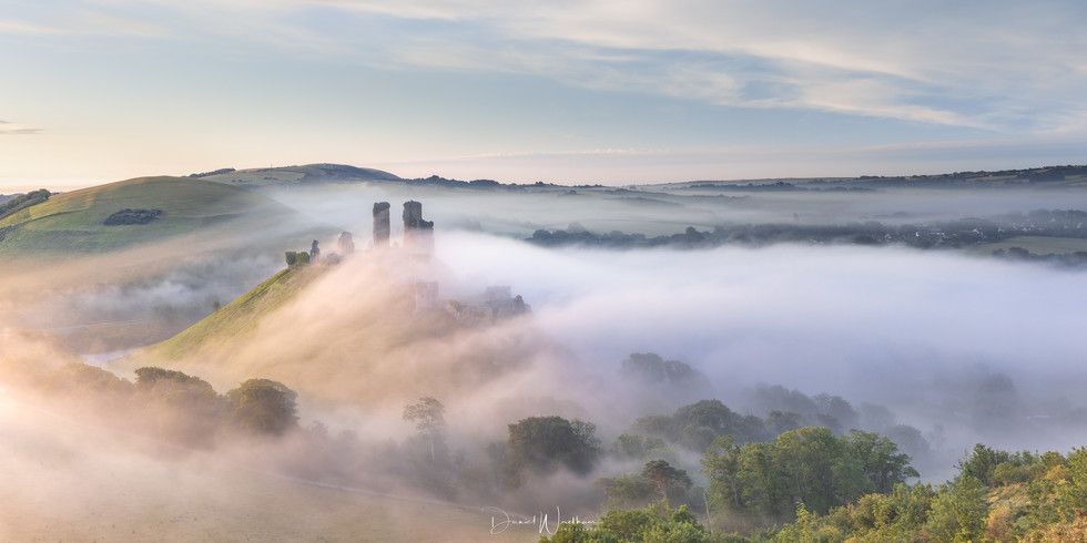 Corfe Castle Misty Panorama