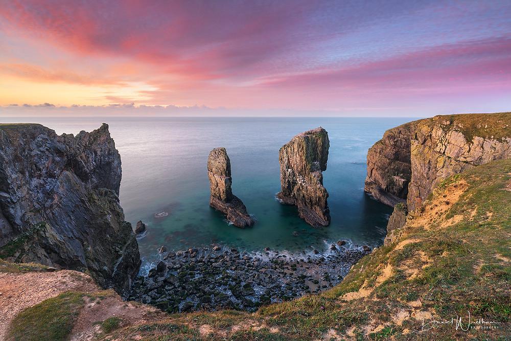 The Elegug Stacks, Amazing Sunset, Stacks Rock, Green bridge of wales