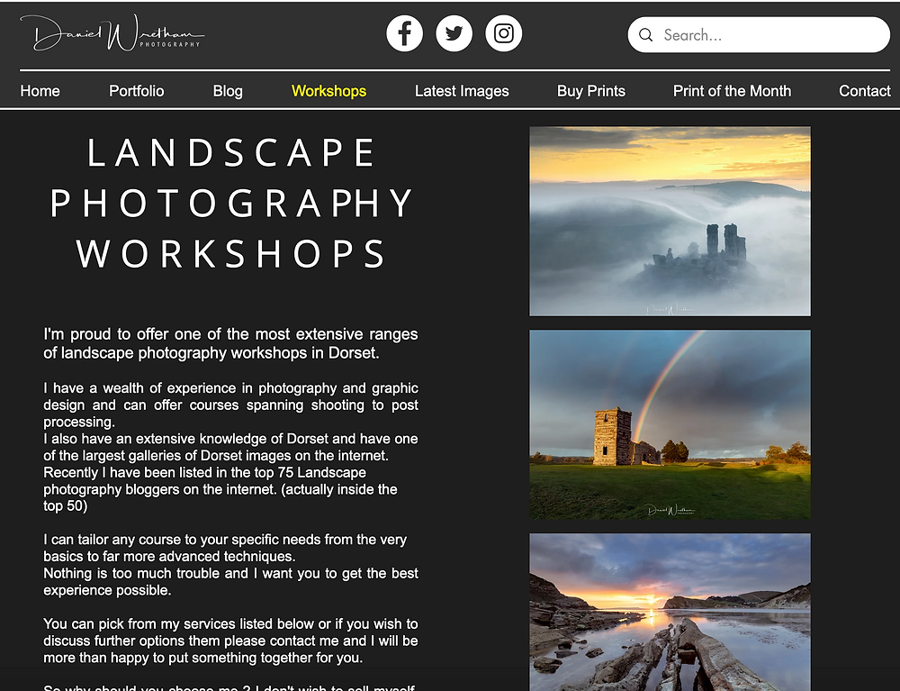 Dorset Landscape photography Workshops