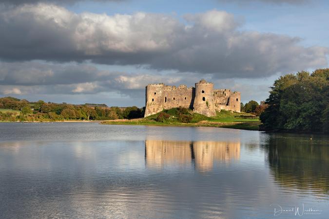 Light on Carew Castle