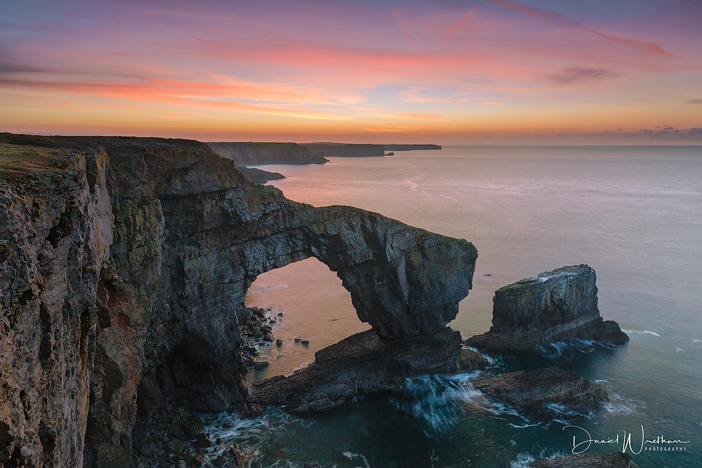 Sunrise at The Green Bridge of Wales