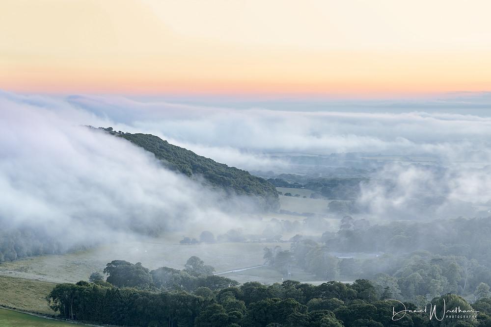 mist over dorset, dorset mists, misty sunset
