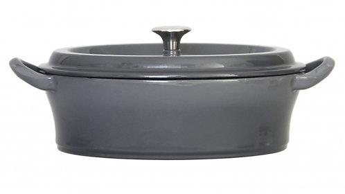 グッドプラス キャストポット オーバル26㎝グレー(鉄鋳物ホーロー鍋)