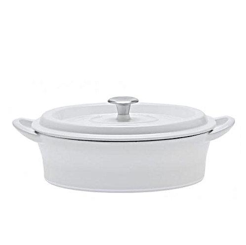 グッドプラス キャストポット オーバル26㎝ホワイト(鉄鋳物ホーロー鍋)