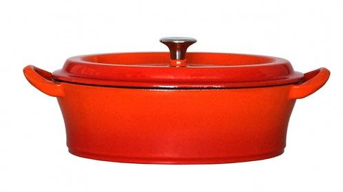 グッドプラス キャストポット オーバル26㎝オレンジ(鉄鋳物ホーロー鍋)