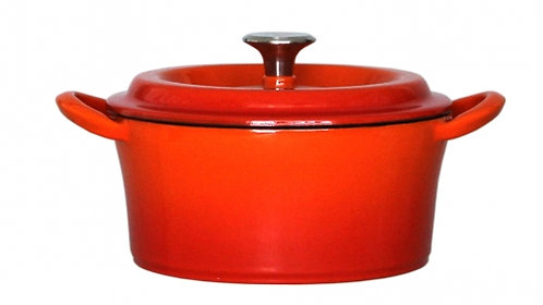 グッドプラス キャストポット20㎝オレンジ(鉄鋳物ホーロー鍋)
