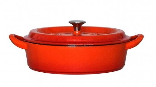 グッドプラス キャストポット24㎝浅型オレンジ(鉄鋳物ホーロー鍋)