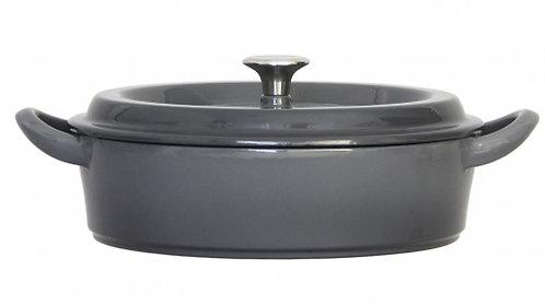 グッドプラス キャストポット24㎝浅型グレー(鉄鋳物ホーロー鍋)