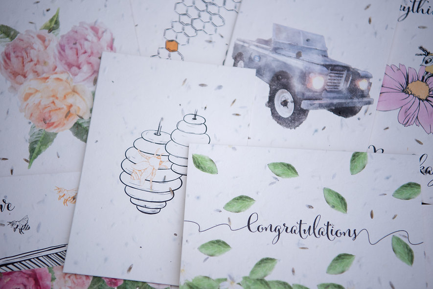 Compilation greeting cards plantable see