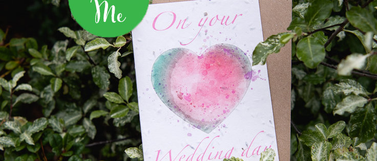 just married wedding day water colour love heart