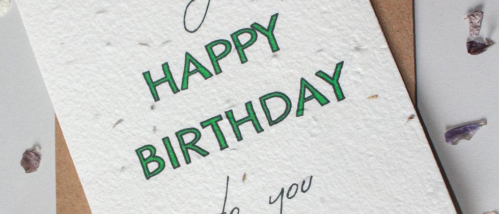 sustainable plastic free happy birthday card