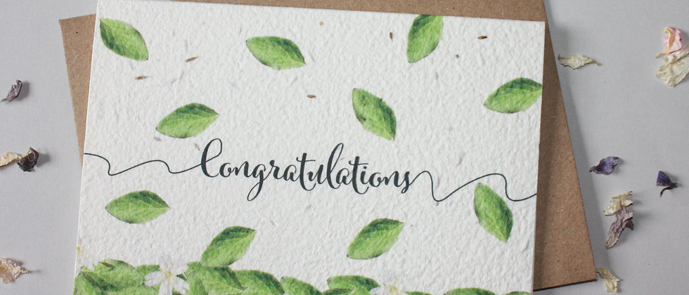 congratulations, new job, new home, engagement zero waste greeting card