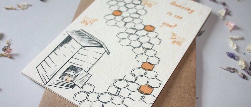 covid bee themed greeting card
