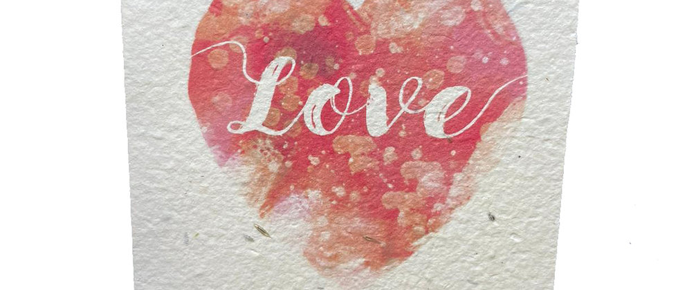 Electric watercolour Love heart plantable valentines greeting card