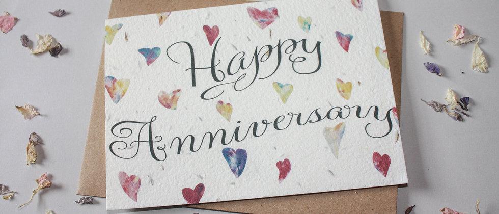 a wedding anniversary eco friendly greeting card