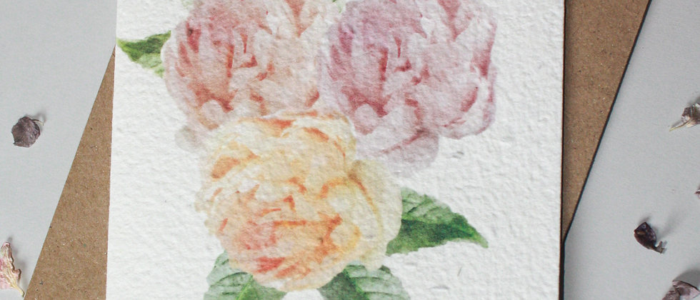 a water colour peony posy printed onto a plantable greeting card