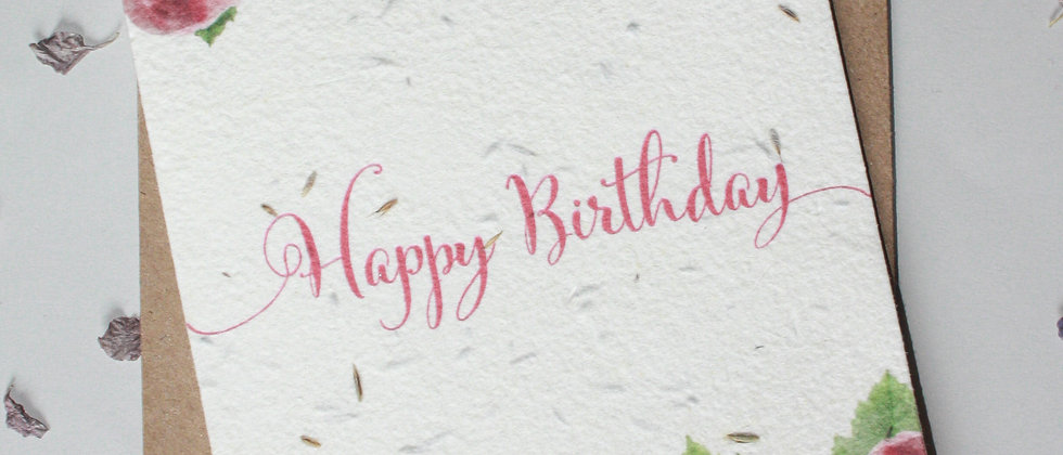 water colour roses and peony's floral happy birthday card