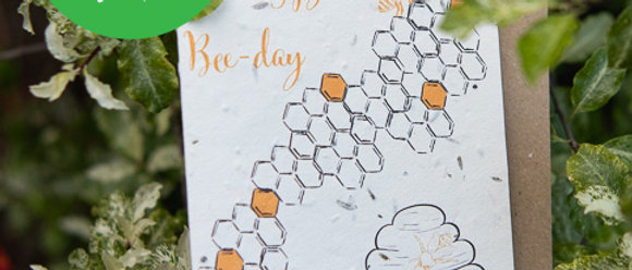 save the bees themed birthday card