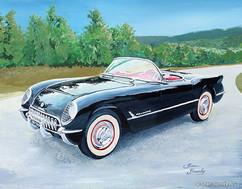 Black 1954 Corvette painting