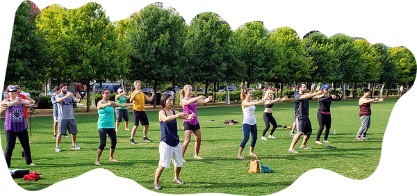 Tai Chi in the park with Dr. Mike leading the way