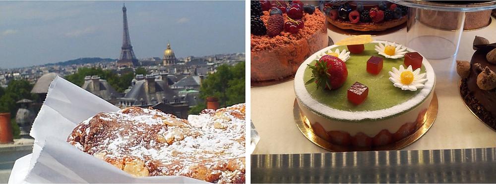 עוגת גינה-עוגת גבינה וקרואסון שקדים מטריף, ברקע – מגדל אקראי