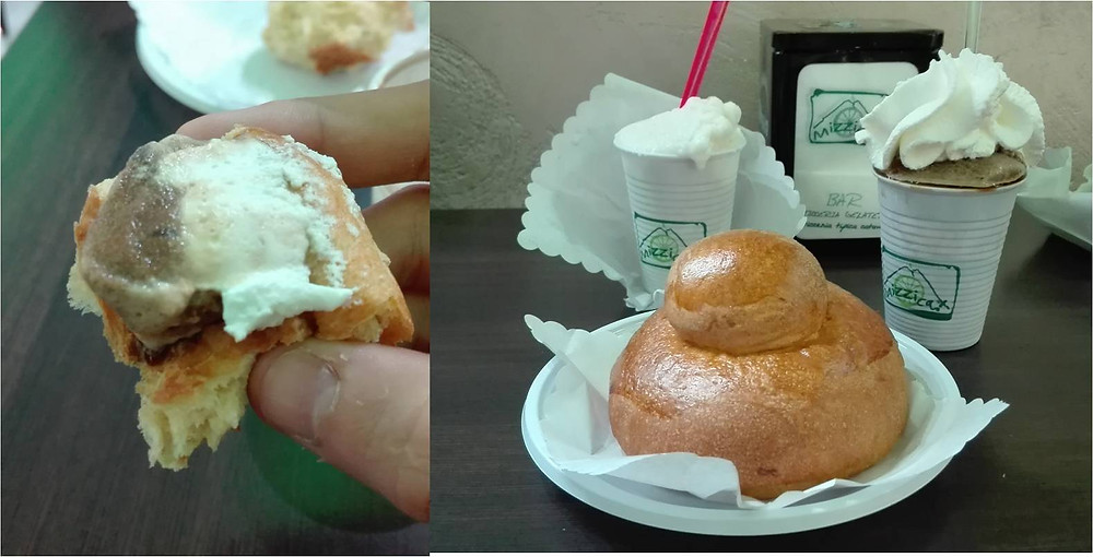 A bread with cream