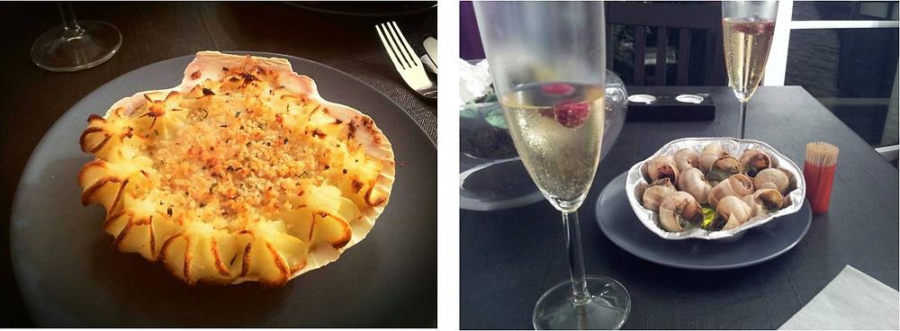 אסקרגו בחמאת שום מלווה בשמפניה ופטלים טריים-קפואים וקוקי סן ז'ק בצדפתה אפויה כשמעליה צ'דר ופירה