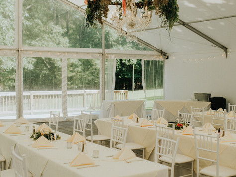 Jocelyn Leiva tables + floral chandelier
