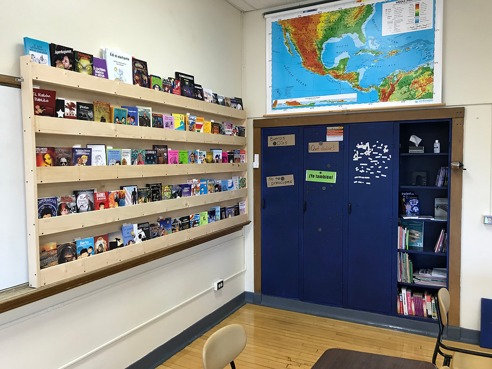 photo of corner with lockers and bookshelf