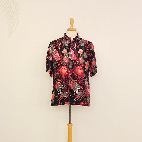 Red Hawaiian Floral Print Aloha Shirt