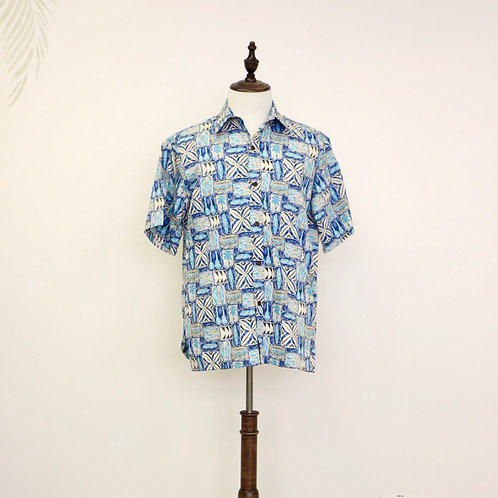 Ukulele, Palm Tree, Surf Board & Canoe Print Aloha Shirt - Blue