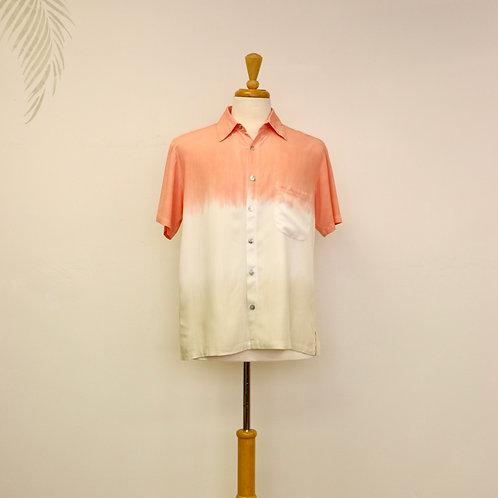 Salmon Pink & Ivory Dye Design Aloha Shirt