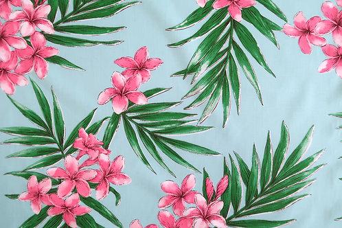 Plumeria All-over Non-Iron Fabric / Mask making-Seagreen