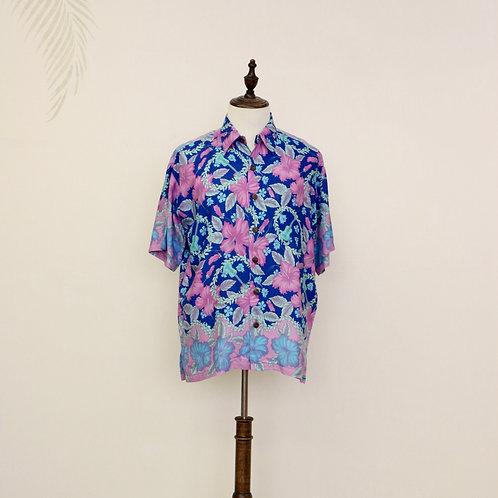 Pink Hibiscus & Ukulele Print Aloha Shirt
