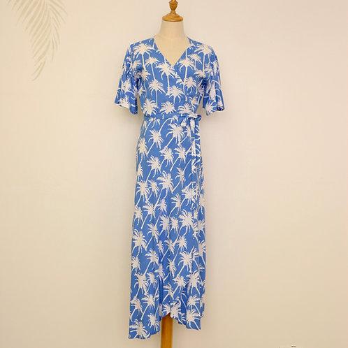 Palm Tree Design Wrap Dress