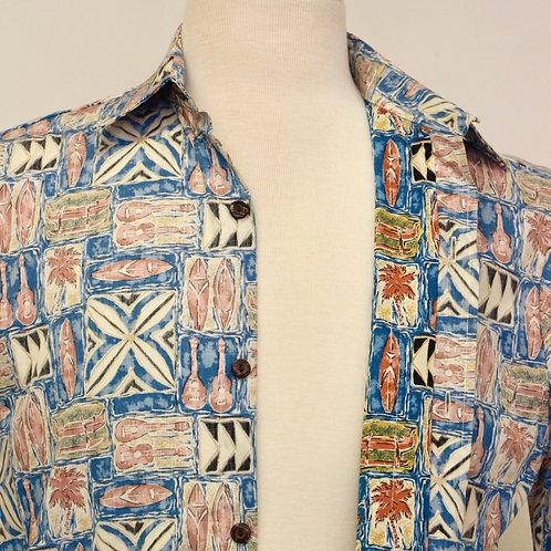 Ukulele, Palm Tree, Surf Board & Canoe Print Aloha Shirt