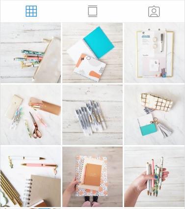 Diseño de grilla de la papelería premium Paperbite en instagram.