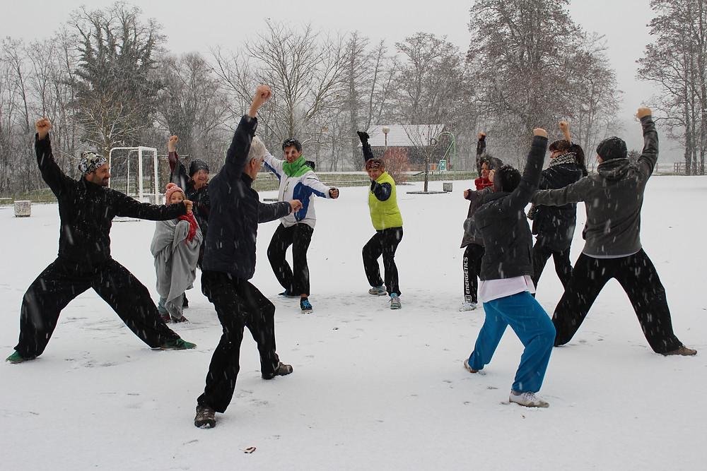 Jiazi sous la neige un dimanche matin
