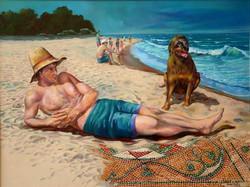 19-60x80 cm Adam ve Köpeği