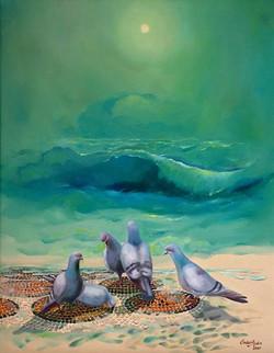 04-50x40 cm Dalgalar ve Kuşlar