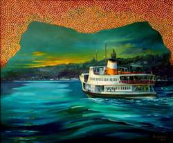 10-50x60 cm İstanbul'da akşam ve gemi