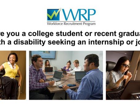 [Employment Opportunity, Deadline 10/11/21] Workforce Recruitment Program