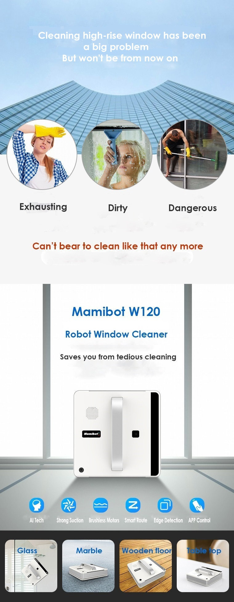 MAMIBOT ROBOT WINDOW CLEANER W120 NEW AUTO WINDOW CLEANER