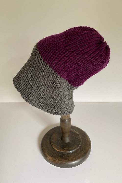 Reversible Beanie - Berry/Heather Grey/Red