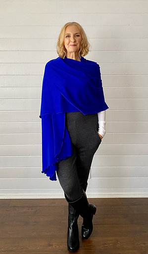 Merino Wool Scarf / Shawl in Cobalt Blue