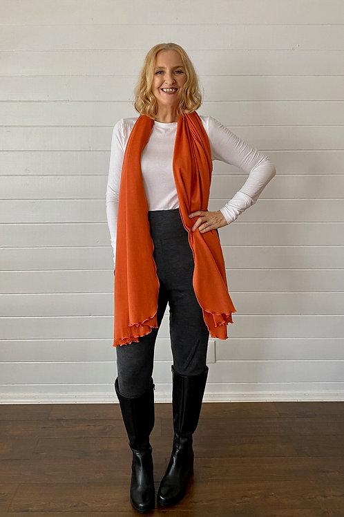 Merino Wool Scarf / Shawl in Saffron Orange